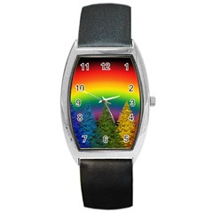 Christmas Colorful Rainbow Colors Barrel Style Metal Watch