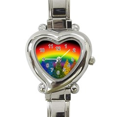 Christmas Colorful Rainbow Colors Heart Italian Charm Watch