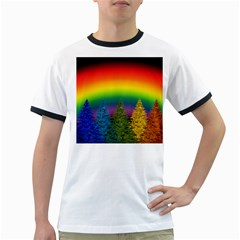 Christmas Colorful Rainbow Colors Ringer T Shirts