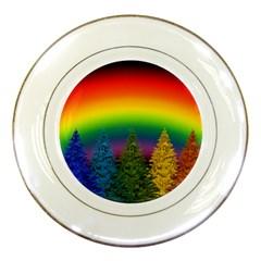 Christmas Colorful Rainbow Colors Porcelain Plates