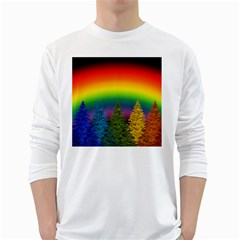 Christmas Colorful Rainbow Colors White Long Sleeve T Shirts