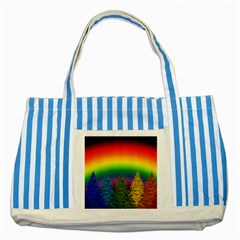 Christmas Colorful Rainbow Colors Striped Blue Tote Bag