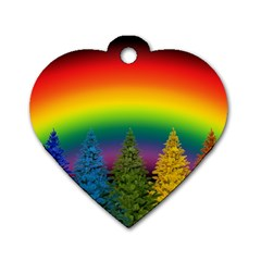 Christmas Colorful Rainbow Colors Dog Tag Heart (two Sides)