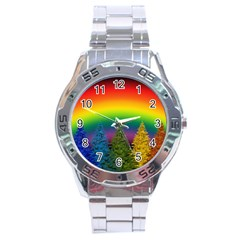 Christmas Colorful Rainbow Colors Stainless Steel Analogue Watch