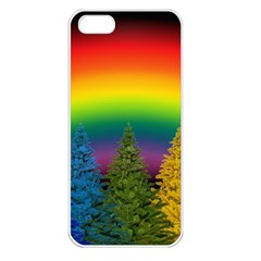 Christmas Colorful Rainbow Colors Apple Iphone 5 Seamless Case (white)