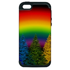 Christmas Colorful Rainbow Colors Apple Iphone 5 Hardshell Case (pc+silicone)