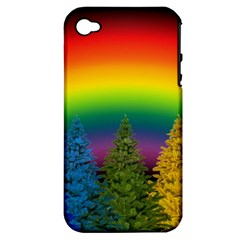 Christmas Colorful Rainbow Colors Apple Iphone 4/4s Hardshell Case (pc+silicone)
