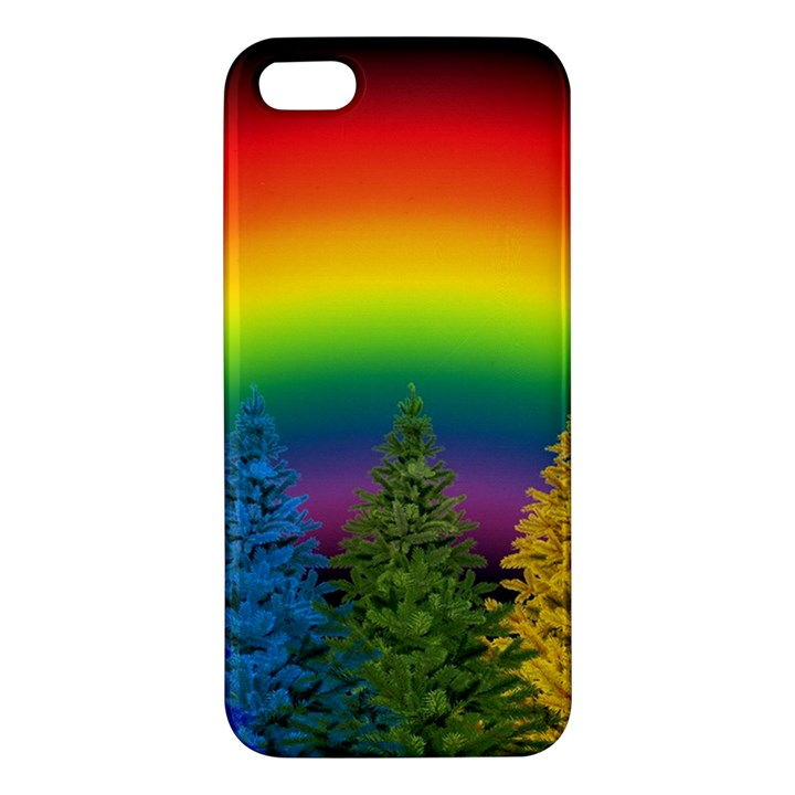 Christmas Colorful Rainbow Colors Apple iPhone 5 Premium Hardshell Case