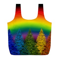 Christmas Colorful Rainbow Colors Full Print Recycle Bags (l)