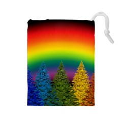 Christmas Colorful Rainbow Colors Drawstring Pouches (large)
