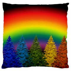 Christmas Colorful Rainbow Colors Large Flano Cushion Case (two Sides)