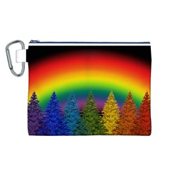 Christmas Colorful Rainbow Colors Canvas Cosmetic Bag (l)