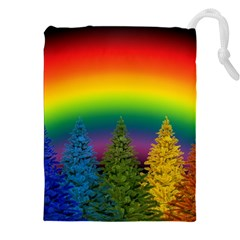 Christmas Colorful Rainbow Colors Drawstring Pouches (xxl)