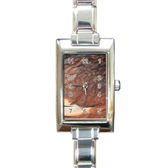 Feather Chicken Close Up Red Rectangle Italian Charm Watch
