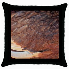 Feather Chicken Close Up Red Throw Pillow Case (black)