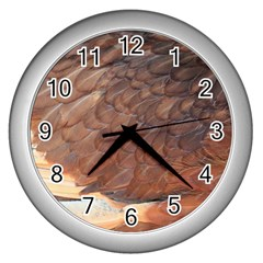 Feather Chicken Close Up Red Wall Clocks (silver)