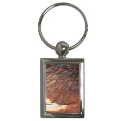 Feather Chicken Close Up Red Key Chains (rectangle)