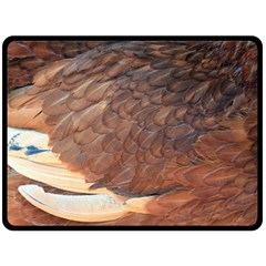 Feather Chicken Close Up Red Fleece Blanket (large)