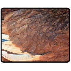 Feather Chicken Close Up Red Fleece Blanket (medium)