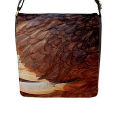 Feather Chicken Close Up Red Flap Messenger Bag (l)