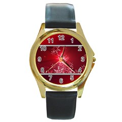 Christmas Candles Christmas Card Round Gold Metal Watch