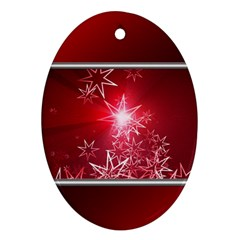 Christmas Candles Christmas Card Oval Ornament (two Sides)