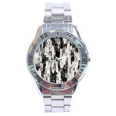 Pattern Structure Background Dirty Stainless Steel Analogue Watch