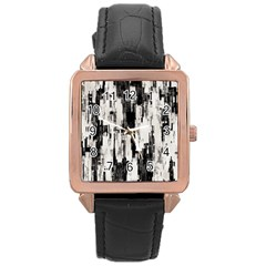 Pattern Structure Background Dirty Rose Gold Leather Watch