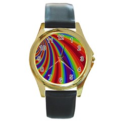 Abstract Pattern Lines Wave Round Gold Metal Watch