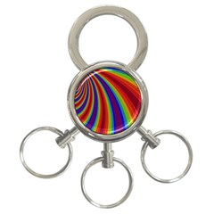 Abstract Pattern Lines Wave 3 Ring Key Chains
