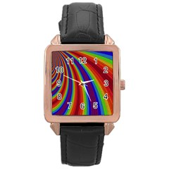 Abstract Pattern Lines Wave Rose Gold Leather Watch