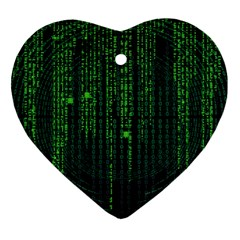 Matrix Communication Software Pc Heart Ornament (two Sides)