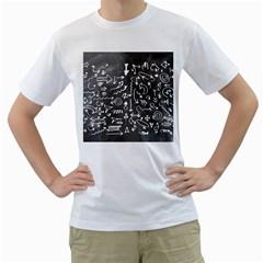 Arrows Board School Blackboard Men s T Shirt (white) (two Sided)