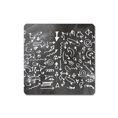 Arrows Board School Blackboard Square Magnet