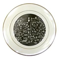 Arrows Board School Blackboard Porcelain Plates