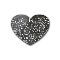 Arrows Board School Blackboard Heart Coaster (4 Pack)