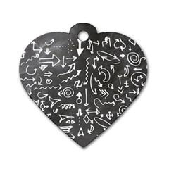 Arrows Board School Blackboard Dog Tag Heart (two Sides)