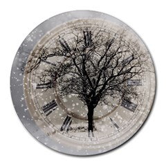 Snow Snowfall New Year S Day Round Mousepads