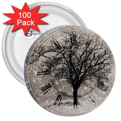 Snow Snowfall New Year S Day 3  Buttons (100 Pack)