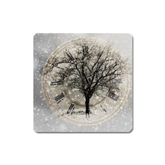 Snow Snowfall New Year S Day Square Magnet