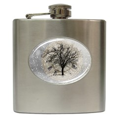 Snow Snowfall New Year S Day Hip Flask (6 Oz)