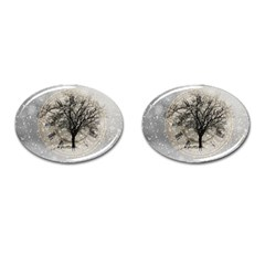 Snow Snowfall New Year S Day Cufflinks (oval)