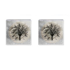 Snow Snowfall New Year S Day Cufflinks (square)