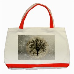 Snow Snowfall New Year S Day Classic Tote Bag (red)