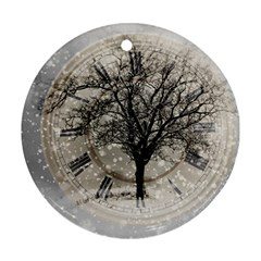 Snow Snowfall New Year S Day Round Ornament (two Sides)