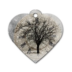 Snow Snowfall New Year S Day Dog Tag Heart (one Side)