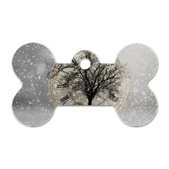 Snow Snowfall New Year S Day Dog Tag Bone (two Sides)