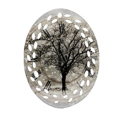 Snow Snowfall New Year S Day Oval Filigree Ornament (two Sides)