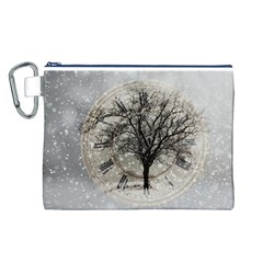 Snow Snowfall New Year S Day Canvas Cosmetic Bag (l)