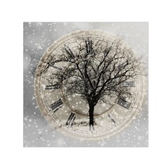 Snow Snowfall New Year S Day Small Satin Scarf (square)